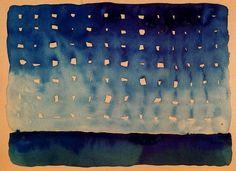 Georgia O'Keeffe - Starlight Night, 1917 I didn't know that Ms. O'Keefe did anything like this. Georgia O'keeffe, Illustration Arte, Alfred Stieglitz, Into The West, O Keeffe, New York Art, Wow Art, Community Art, American Artists