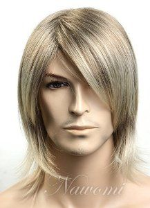 SureWells Cosplay Wigs Stylish Wigs Fashion Golden Cool Oblique Bangs Men's Wigs Short Wigs Middle Age Wigs Lace Wigs Hair Wigs by SureWells. $24.89. *Hair Looks Shiny Natural and Touch Soft.. * Easy to care for and Wash. Wash with normal shampoo in warm but not hot water. Shake off excessive water, wipe with a tower, and dry in air.. *It's fit for your Parties,Cosplay & Daily Use.. *The size is adjustable,it can fit on most people.you can adjust the hooks inside the cap to th...