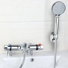 74.25$  Watch now - http://alip1w.worldwells.pw/go.php?t=32410636093 - Shivers 97167-18 Thermostatic Bath Mixer Bathtub Faucet Set torneira da banheira with Hand Shower Bath Shower Deck/Wall Mounted
