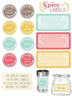 kitchen spice labels by SweetBonnieChristine on Etsy, $5.00
