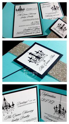 Lindsey Tiffany Blue Pocket Fold Suite Invitations, Quinceanera, Mis XV, Bling Wedding, Bling Quince, Glitter Wedding, Rhinestones, Luxury Wedding, Sweet 16, Bat Mitzvah, Fab40