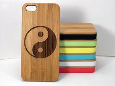Yin Yang iPhone 5C Bamboo Case. China Chinese Taoism Symbol Spirituality Zen. Eco-Friendly Wood Cover Skin. iMakeTheCase Free U.S. Shipping (25.00 USD) by iMakeTheCase