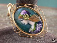 Antique Deco 18ct Gold French G Faure Limoges Enamel Image Medal Pendant | eBay