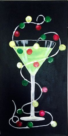 Let's celebrate Have a cup of cheer as you paint this fun holiday themed painting. Learn how simple it is to paint a martini glass. I'll provide a stencil for the cocktail glass and a dotter for the lights so everyone looks like an expert. Christmas Canvas, Christmas Mom, Christmas Paintings, Christmas Lights, Holiday Canvas, Christmas Ideas, Christmas Decorations, Wine And Canvas, Wine Painting
