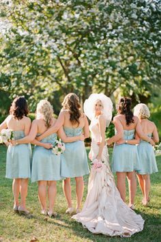 maybe blue bridesmaids dresses?