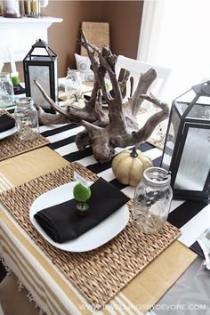 use a throw blanket as a table cloth to cozy up your table setting