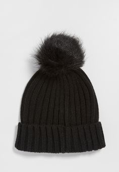 6bca8fe484511a ribbed knit hat with faux fur pompom in black Beanie Hats, Beanies, Holiday  Wishes