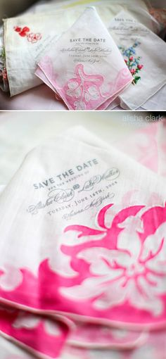 invitations printed on vintage hankerchiefs by bird and banner