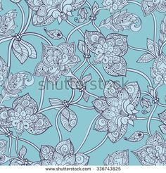 Intricate seamless pattern with decorative stylized flowers - stock vector