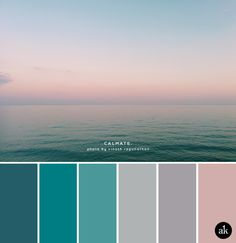 an ocean-sunset-inspired color palette — Creative brands for creative people // Akula Kreative Ocean Color Palette, Ocean Colors, Sunset Colors, Colour Pallette, Grey Color Palettes, Turquoise Color Palettes, Turquoise Paint Colors, Sunset Palette, Bedroom Colour Palette