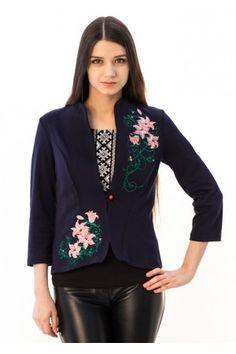 "Жакет ""Букет лілій"" синього кольору Blouse, Long Sleeve, Sleeves, Tops, Women, Fashion, Moda, Long Dress Patterns, Fashion Styles"