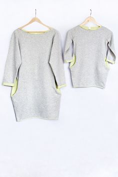 "Sweatshirt Dress with LIME elements ""Two Face"" mother daughter set"