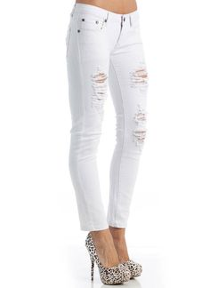 WHITE DISTRESSED JEANS ❤ liked on Polyvore featuring jeans, pants ...