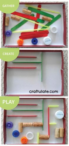 This DIY Marble Run is quick and easy to make with a shoe box, craft sticks, straws, and items from the recycling bin. Once completed, it supplies hours of exploratory fun!