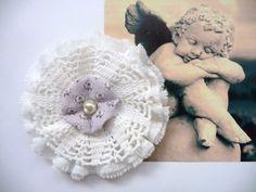Shabby Blume Vintage Nostalgie Spitze Baby Schulanfang Verzierung Handarbeit