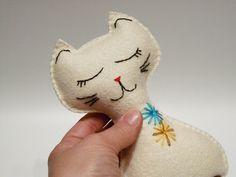 White felt cat Toy Plush Stuffed animal handmade by myRainbowWorld, $21.00