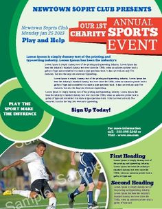 Borderless Sports Charity Flyer for any sports event. 100% customizable. Use for other events, promotions, and activities.  Cool circle theme makes this attractive and eye-catching. Try this Free Template now using the PageProdigy Cloud Designer: www.pageprodigy.com/flyer-templates
