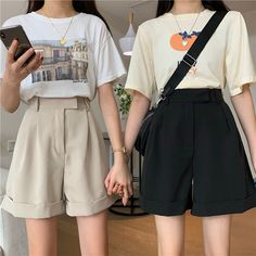 Korean Casual Outfits, Retro Outfits, Cute Casual Outfits, Summer Outfits, Korean Girl Fashion, Ulzzang Fashion, Matching Outfits Best Friend, Mode Kawaii, Couple Outfits