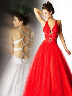 (HUNG0247277 )2013 Style A-line V-neck Beading Sleeveless Floor-length Tulle Red Prom Dress / Evening Dress