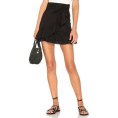 Tularosa x REVOLVE Maida Ruffle Skirt ($140) ❤ liked on Polyvore featuring skirts, mini skirts, mini skirt, white slip skirt, wrap skirts, tie-dye skirt and short ruffle skirt