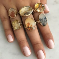 OVAL DENDRITIC AGATE RING – Emily Amey Jewelry