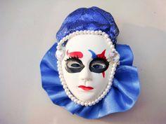 Vintage Jester Clown Mask Pin brooch Blue by PaganCellarJewelry, $11.99
