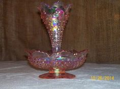 Fenton-Empress-Rose-Iridized-Hobnail-Single-Horn-Epergne-QVC-Exclusive