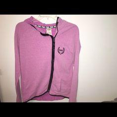 PINK Victoria's Secret half-zipped jacket Fushia half-zipped jacket that has pink logo on side! Super cute with leggings! PINK Victoria's Secret Jackets & Coats