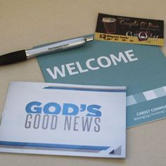 Welcome packet for Christ Community Church - A pen, a welcome brochure, explanation of the gospel, and free coffee at their coffee bar.
