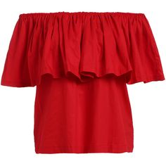 Ruffled Off-The-Shoulder Blouse ($17) ❤ liked on Polyvore featuring tops, blouses, red, ruffle collar blouse, off shoulder ruffle blouse, red ruffle blouse, pleated blouse and off-the-shoulder tops