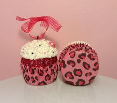Christmas Cupcake Ornament  Pink Leopard by PrettyWittyCupcakes #giveaway
