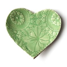 Love, love, love, looovvvve!   Ceramic heart dish Lace texture pottery Key lime by PrinceDesignUK, $25.00