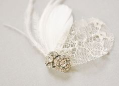 "NOTE: All pictures, designs are original design, handmade and © Designs by Portobello. Please see my shop ""POLICIES"" http://www.etsy.com/shop/portobello/policy.    Absolutely gorgeous, romantic and unique headpiece. Perfect vintage inspired bridal adornment    goose nagoires (ivory)  ostri...    $89"