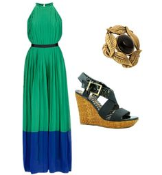 Silk maxi dress with black wedges