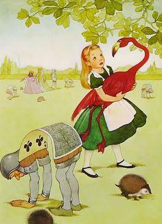 1950s Flamingo Croquet  Alice in Wonderland Print