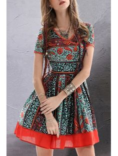 Vintage Floral Short Sleeve Flare Dress COLORMIX: Print Dresses | ZAFUL