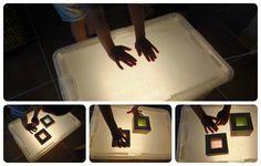 Nuestra caja de luz DIY - Our DIY light box http://www.montessoriencasa.es/nuestra-caja-de-luz-diy-our-diy-light-box/