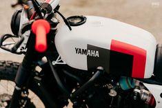 Beach Bum: A big wheel Yamaha XSR custom from France Motorcycle Paint Jobs, Motorcycle Tank, Yamaha Rx 135, Cafe Racer Bikes, Cafe Bike, Sr500, Tank Design, Big Wheel, Custom Bikes