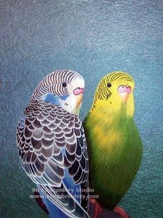 Budgerigar, silk hand embroidered picture, China Suzhou silk thread painting, hand embroidery artwork, Su Embroidery Studio