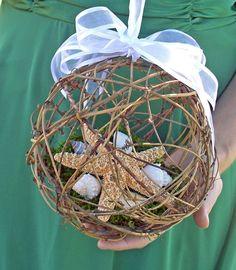 Beach Wedding Starfish Pomander Kissing Ball/ Basket Alternative. $25.00, via Etsy.