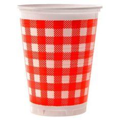 Copo Plástico Kaixote Xadrez Vermelho - 25 unidades