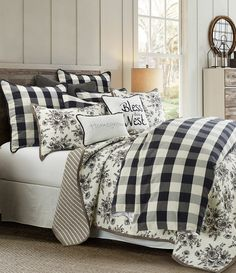 Who doesn't love black and white together? Our Camille Comforter Set instantly creates the perfect modern farmhouse feel for your bedroom. The black and white buffalo check adds a welcoming touch that will complement any accessory. Plaid Bedroom, Plaid Bedding, Farmhouse Bedding Sets, Farmhouse Bedroom Decor, Country Bedding Sets, Online Bedding Stores, Queen Comforter Sets, Bedroom Comforter Sets, Twin Comforter