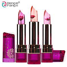 1Pc Famous Brand Chrysanthemum Lipstick Jelly Fruit Lip Balm Stick Temperature Change Moisturizer Bright Surplus Lips Makeup