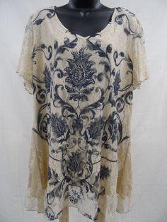 Plus Size 3X LACE Top STRETCH Shirt LINED Evening ASYMMETRICAL Embellished  NWT…