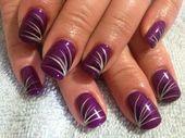 Beautiful and Healthy Nails Shapes Purple Nail Art, Purple Nail Designs, Gel Nail Art Designs, Fingernail Designs, Long Nail Designs, Pretty Nail Art, Colorful Nail Designs, Shellac Nail Art, Cute Acrylic Nails