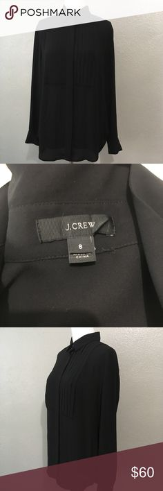 J Crew Drapey Tuxedo Top Black Beautiful blouse button up size 8. Item is in excellent condition with no stains, rips, or flaws! Please check out my other listings as I do offer a bundle discount, I love offers J. Crew Tops Blouses