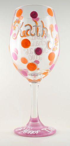 Handpainted Wine Glasses (lolita who?!) :  wedding bridesmaid custom gift glass hand paint wine Maid Of Honor 1