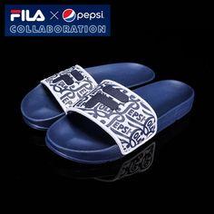[Fila x Pepsi] Limited Slip On Sandal Slides Casual Shoe All Unisex Size Navy #FILA #Slides