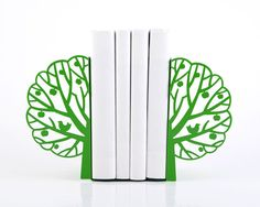 Minimalistic bookends - Summer - FREE SHIPPING salad green tree laser cut metal bookends strong enough to hold your books