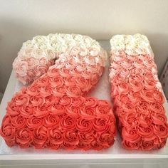 sugar | GALLERY 21 number coral red Ombrè buttercream rosette cake